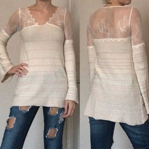FREE PEOPLE ✌🏻 LACE LONG SLEEVE TOP XS